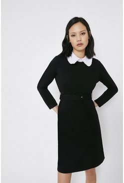 Black Collared Ponte Dress
