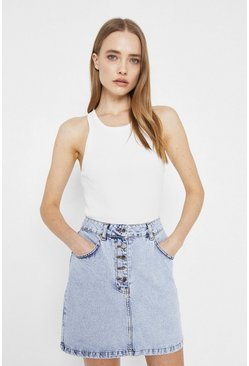 Light wash Organic Cotton Button Front Denim Mini Skirt