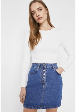 Mid wash Organic Cotton Button Front Denim Mini Skirt