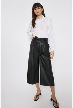 Black Faux Leather Belted Wide Crop