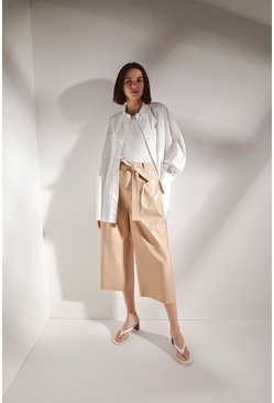 Cream Faux Leather Belted Wide Crop