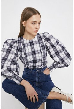 Multi Checked Volume Sleeve Top