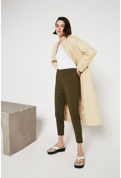 Khaki Side Zip Compact Cotton Trouser