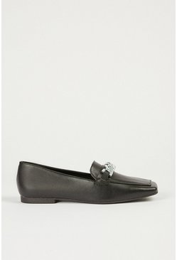 Black Square Toe Loafer