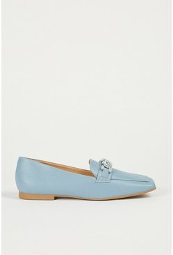 Pale blue Square Toe Loafer