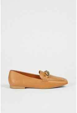 Tan Square Toe Loafer