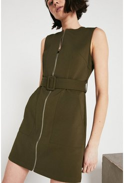 Khaki Zip Through Compact Cotton Dress