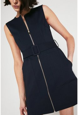 Navy Zip Through Compact Cotton Dress