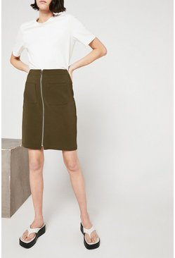 Khaki Zip Front Compact Cotton Skirt