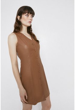 Tan Faux Leather Button Through Shift