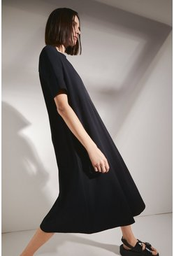 Black Organic Cotton Trapeze Midi Dress