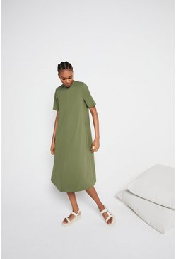 Khaki Organic Cotton Essential Trapeze Midi Dress