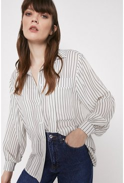 Shirt With Pleat And Pockets In Stripe