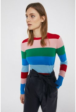 Multi Rainbow Stripe Crew Jumper