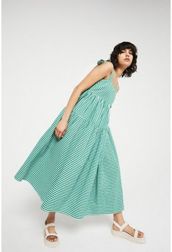 Green Gingham Midi Dress