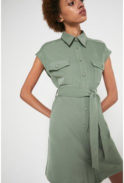 Sage Tie Waist Shirt Dress