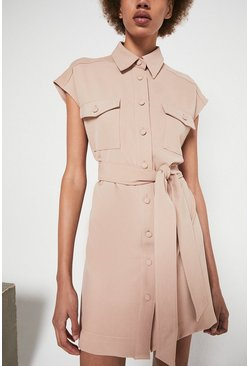 Taupe Tie Waist Shirt Dress