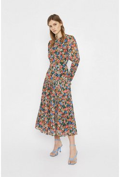 Multi Printed Dress With Pleated Hem