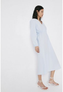 Light blue Cotton Wrap Dress With Drawcord