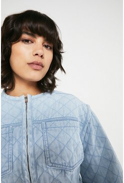 Light wash Denim Quilted Jacket