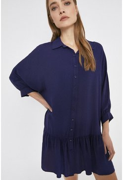 Navy Mini Swing Shirt Dress