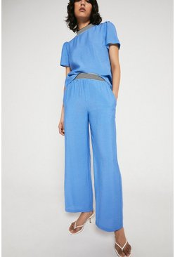 Blue Trouser With Stripe Waistband