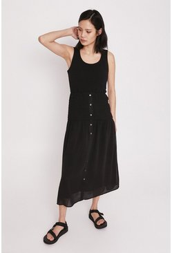Black Midi Skirt With Shirred Waist