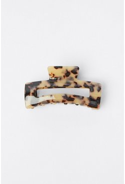 Beige Patterned Square Claw Clip