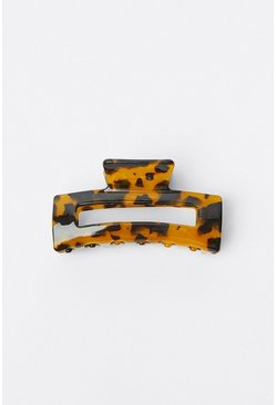Tan Patterned Square Claw Clip
