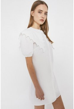 White Cotton Mini Dress With Lace Collar