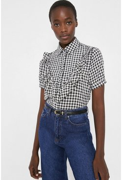 Blackwhite Check Shirt With Frill