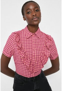 Pink Check Shirt With Frill
