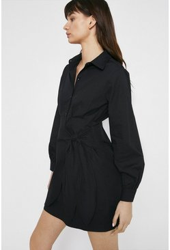 Black Mini Shirt Dress With Wrap In Cotton