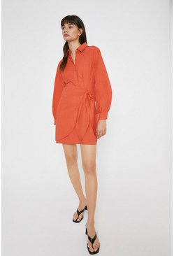Rust Mini Shirt Dress With Wrap In Cotton