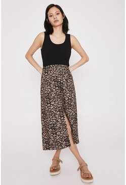 Skirt With Buttons In Animal Print