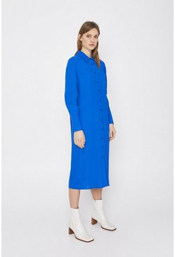 Blue Soft Shirt Dress With Pocket