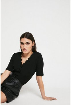 Black Scallop Neck Ponte Top
