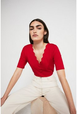 Red Scallop Neck Ponte Top
