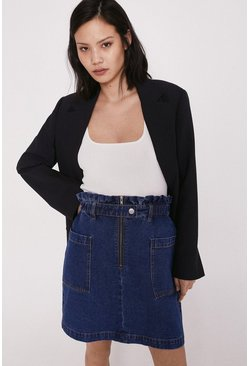Mid wash Denim Paperbag Zip Front Skirt