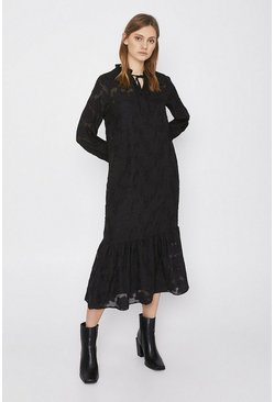 Black Midi Dress In Rose Jacquard