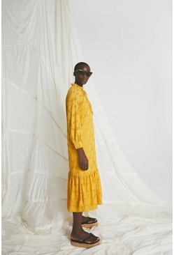 Yellow Midi Dress In Rose Jacquard