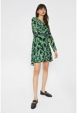 Black Mini Dress With Knot Front In Floral