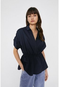 Navy Cotton Top With Ruched Sleeves