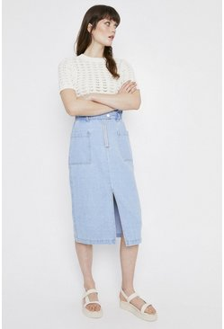 Light wash Denim Paperbag Zip Front Midi Skirt