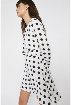 Mono Mini Dress With Knot Front In Spot