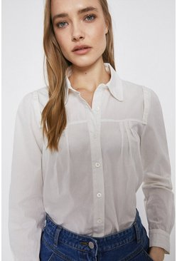 Cream Cotton Shirt With Tab