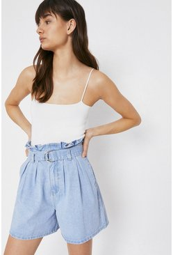 Light wash Denim Paperbag Shorts