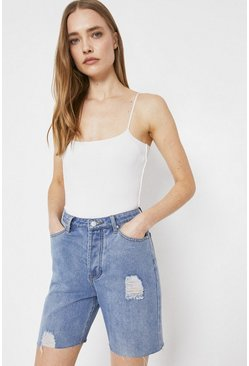 Light wash Denim Longline Shorts