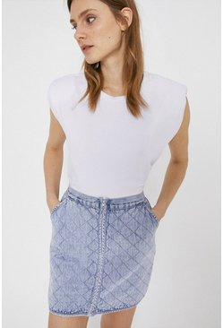 Light wash Denim Quilted Mini Skirt