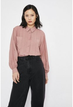 Pink Shirt With Pleat And Pockets